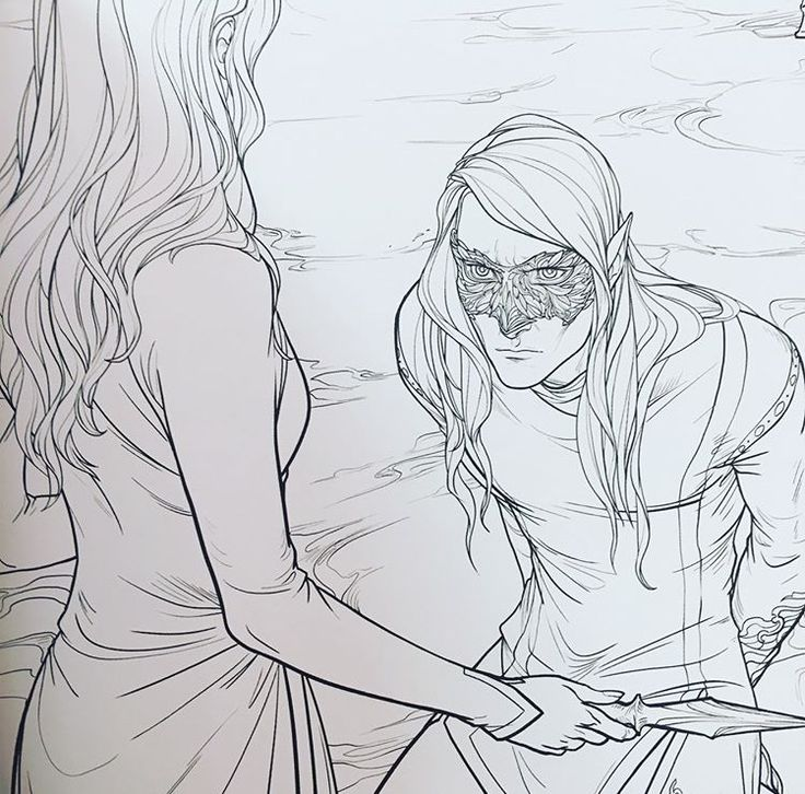 Feyre stabbing Tamlin, the tool, stone heart in ACOTAR. When she wanted to plunge it into her own. Before Amarantha broke her neck and My baby Rhys screamed as he  loved her. ACOMAF coloring book ACOTAR ACOWAR Sarah J. Maas Charlie Bowater