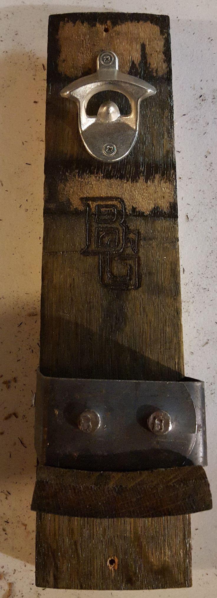 Bourbon Whiskey Barrel Stave Custom Wall Hanging Bottle