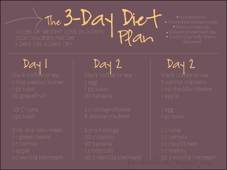 From Bare Hands: The 3-day Diet Plan
