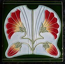 Jugendstil Fliese art nouveau tile Tegel Offstein Hibiscus grün  top schön