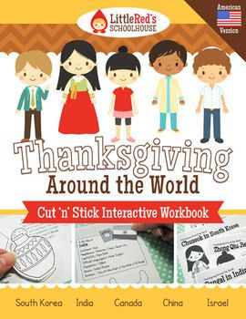 Thanksgiving Around the World Workbook - a great resource to learn about harvest festivals around the world! Interactive worksheets, with unique illustrations by us! Students learn about Thanksgiving in Canada and/or America, Chuseok in South Korea, Zhong Qui Jie in China, Pongal in India, Sukkot in Israel. Includes postcards to use as a summarizing activity and five worksheets! No filler pages $