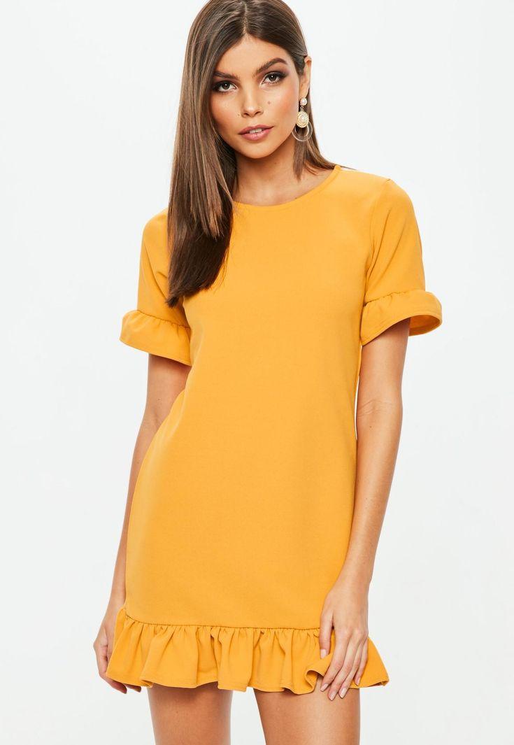 Missguided - Orange Frill Detail Dress