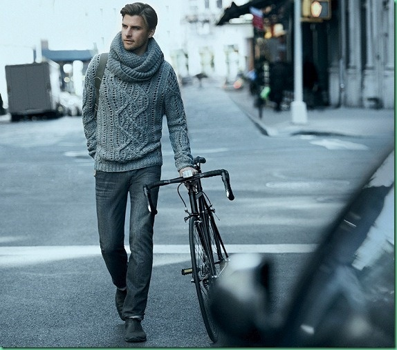 Johannes Huebl (DKNY Fall/Winter 2012/13) hot man- cable knit sweater- bicycle- my perfect fall accessory! #erracreations #perfectfallwares
