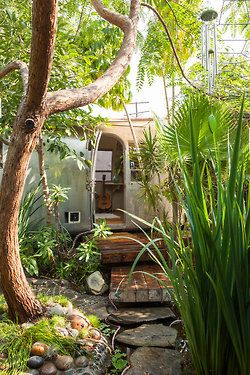 Airstream home in the backyard