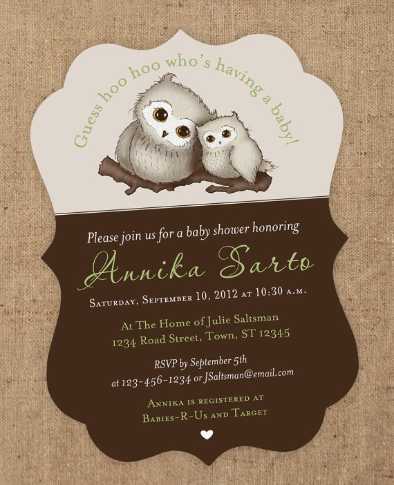Hoo Hoo Who is having a baby? Sweet little owl shower invite.