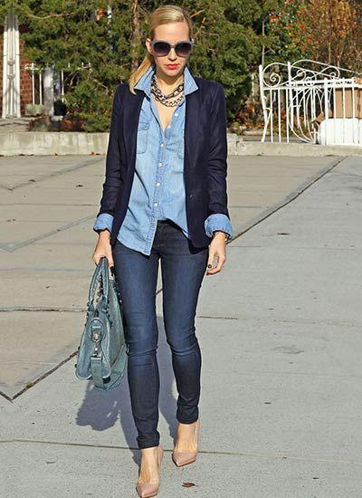 デニムオンデニム×紺ジャケットのコーデ(レディース)海外スナップ | MILANDA