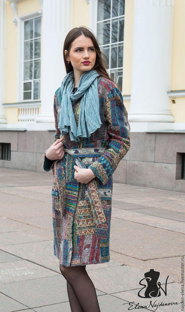 """Купить валяное пальто """" patchwork"""" - комбинированный, пальто, валяное пальто, легкое пальто, пэчворк"""