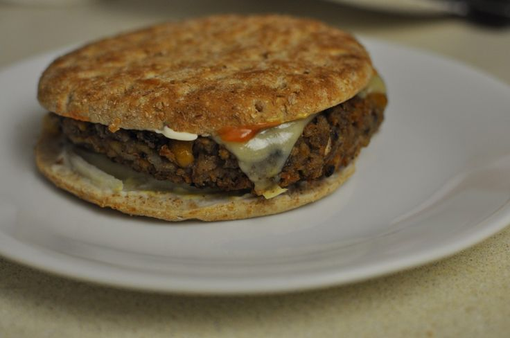 Excellent vegan friendly veggie burger recipe adapted from the Blue Plate Diner Classic.  This is a bean-based burger that is big and filling.  Try it out, then put your own spin on it!