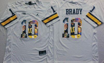 Michigan Wolverines 10 Tom Brady White Portrait Number College Jersey
