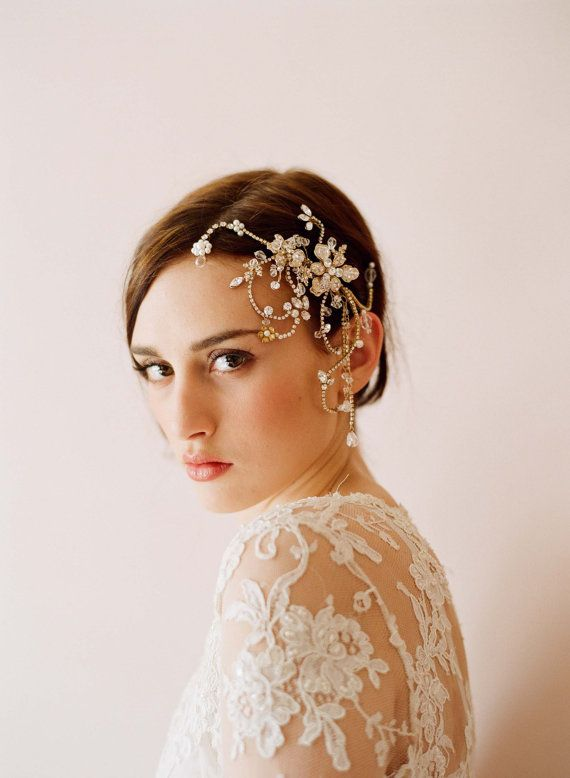 Bridal rhinestone headpiece, hair comb - Dazzling twisted rhinestone and pearl headpiece - Style 245 - Made to Order. $325.00, via Etsy.