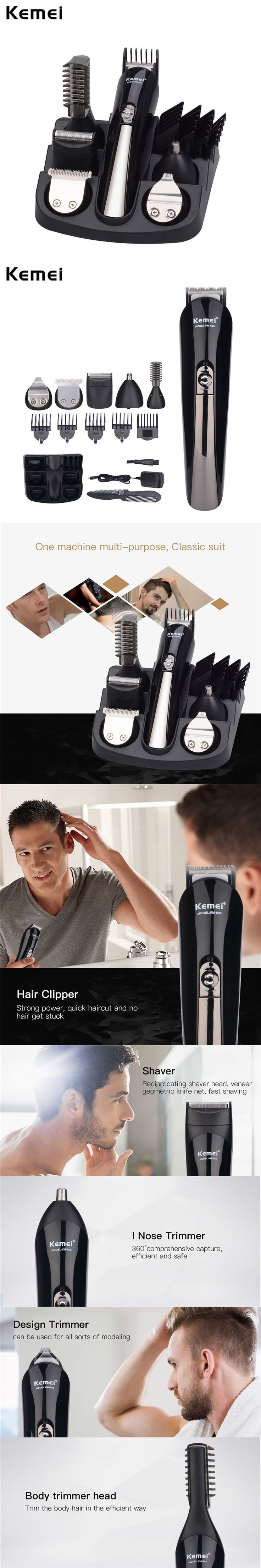 Kemei 6 In 1 Hair Trimmer Hair Clipper Electric Shaver Shaving Machine Beard Trimmer 100-240V Rechargeable Razor For Men Styling