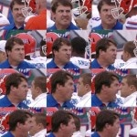 Angry Will Muschamp takes his anger out on sideline.