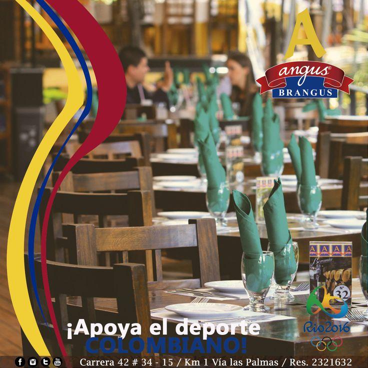 ¡Angus Brangus Parrilla Bar apoya el deporte colombiano! disfruta la participación de nuestros deportistas en los #JuegosOlimpicosRio2016, tendrémos pantallas plasmas y sonido amplificado para algunas presentaciones.   Reservas: 2321632.  www.angusbrangus.com.co  Cra. 42 # 34 - 15 / Vía las Palmas  #AngusBrangus #RestaurantesMedellín #Medellín #Quehacerenmedellín #sitegustacompartelo #Poblado #PlanPerfecto #Colombia #gastronomía #medellínsisabe
