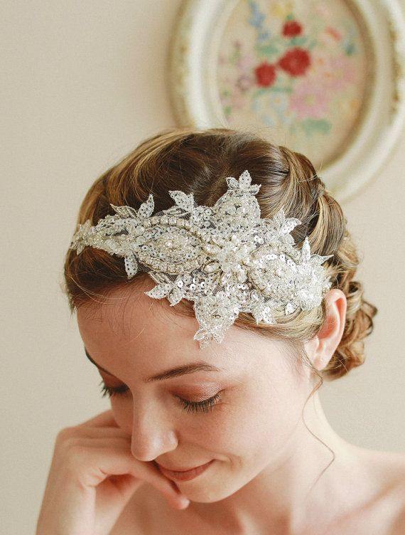 Lace wedding headband bridal headband wedding by woomeepyo on Etsy, $45.00