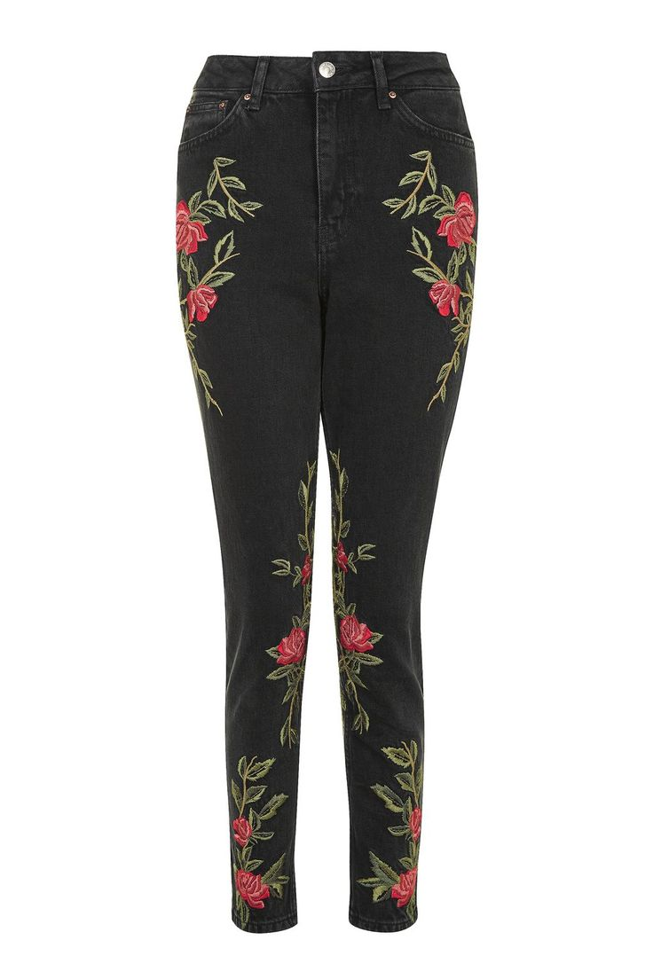 PETITE Rose Embroidered Mom Jeans | Topshop