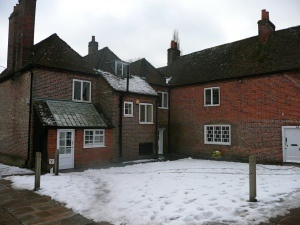 A view of the rear of the house, in the winter
