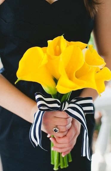 yellow wedding bouquet with nautical striped ribbon embellishment #yellow #lillies