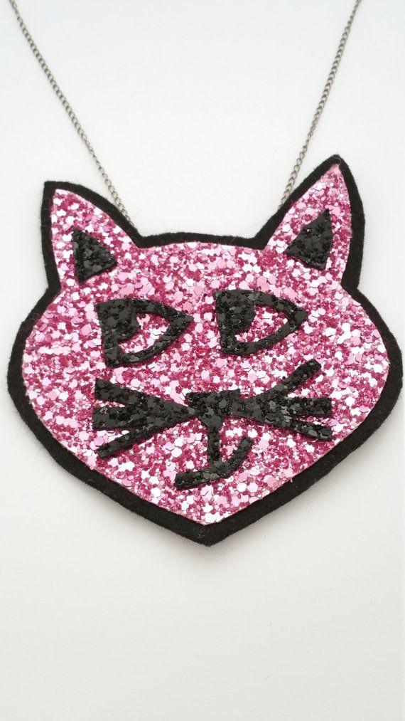 Kitty Cat Glitter Statement Necklace - FREE UK SHIPPING