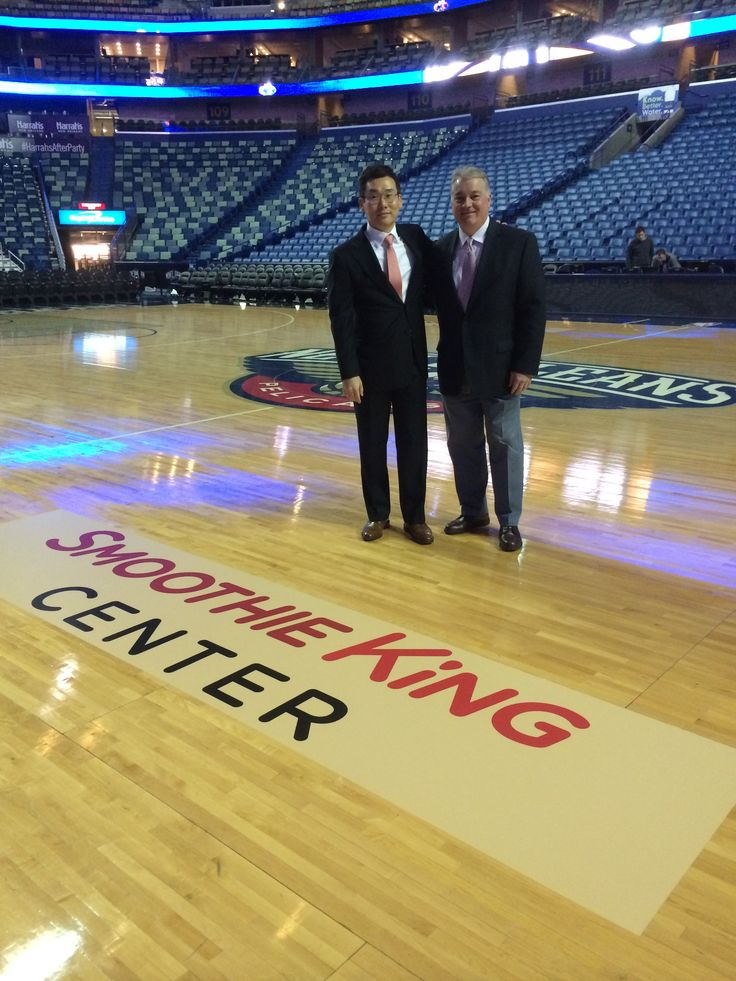 Wan Kim, CEO of Smoothie King with Tom O'Keefe, president of Smoothie KIng at the unveil of Smoothie King Center on Feb. 6, 2014.