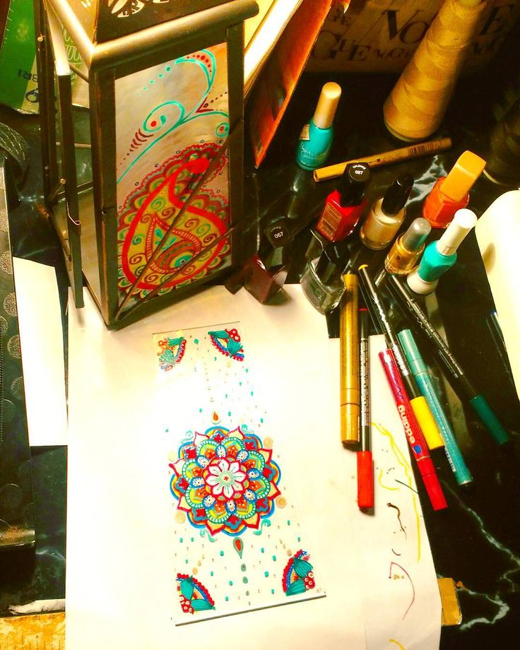 #workinprogress _ decorating my new lamp _ #drawing #mandala #colors #inspiration #indianinfluence #lovecreating