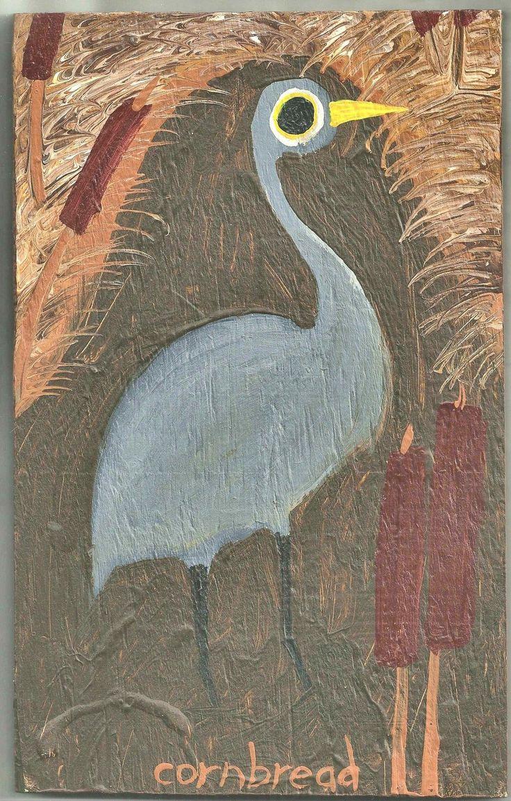 Details About John Quot Cornbread Anderson Folk Art Blue Heron