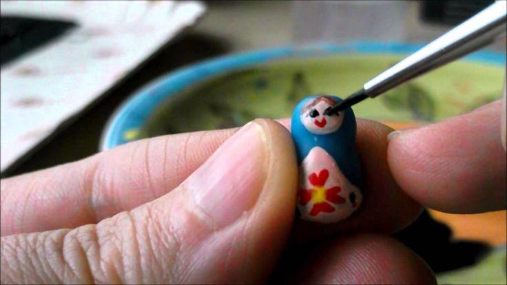 Tutorial orecchini matrioska miniatura in pasta di mais e dipinte a mano...