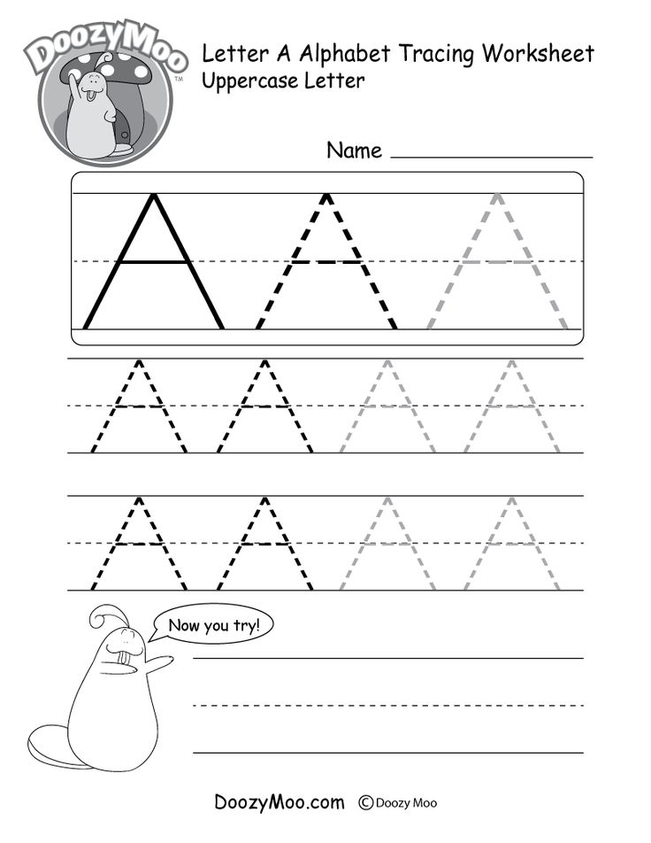 Uppercase Letter A Tracing Worksheet Doozy Moo Tracing