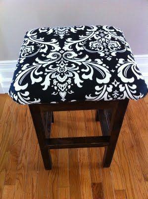 foam + fabric + staple gun + paint = revamped bar stool