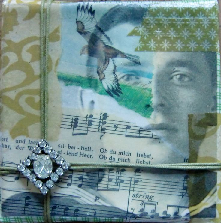 Ob Du mich liebst. Collage on canvas, vintage earring, 10 x 10 cm. Sold