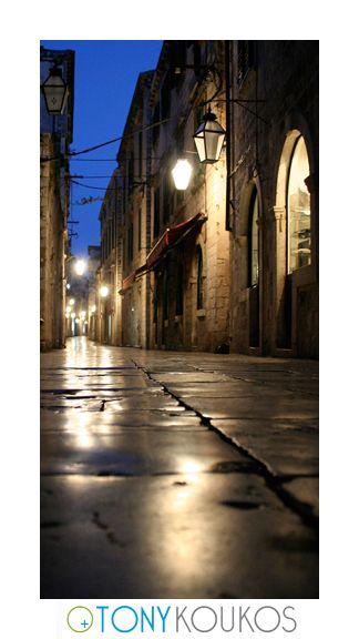 lanterns, awning, canopy, street, narrow, arches, windows, night, dubrovnik, croatia, europe, travel, photography, art, Tony koukos, places