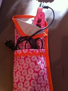 flat iron travel pouch #tutorial // curling iron travel // hot hair tools cozy with cord pocket (add KAM snaps to the corner to secure for transit)