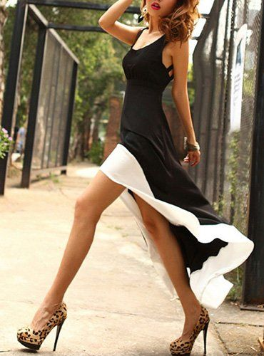 Hi/Low Dress: Shoes, High Low Dresses, Style, Highlow, Black And White, White Trim, Black White, The Dresses, Hi Low Dresses