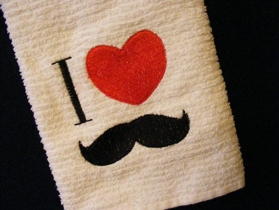An I Heart Mustache Dish Towel by LJsCustomCreations on Etsy, $8.00Mustaches Dishes, Dishes Towels, Dish Towels