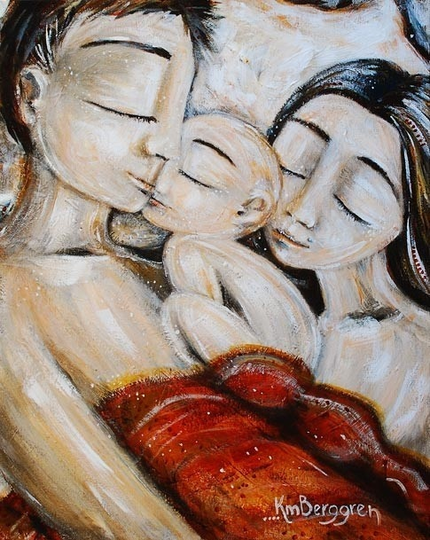 Three, Sleeping - Archival 8x10 print from an acrylic painting by Katie m. Berggren