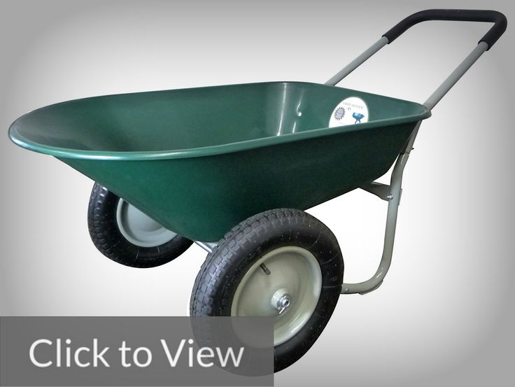 Marathon Dual-Wheel Residential Yard Rover Wheelbarrow and Yard Cart  The Marathon Dual-Wheel Residential Yard Rover Wheelbarrow and Yard Cart resembles the traditional wheelbarrow. But, it has two front pneumatic tires that provide balance and minimal effort when pushed or pulled.  We've understood that a double tire wheelbarrow is a little hard to maneuver than the single-tired ones. Thus, Marathon (the brand maker) designed the equipment with a loop handle to help with this issue.