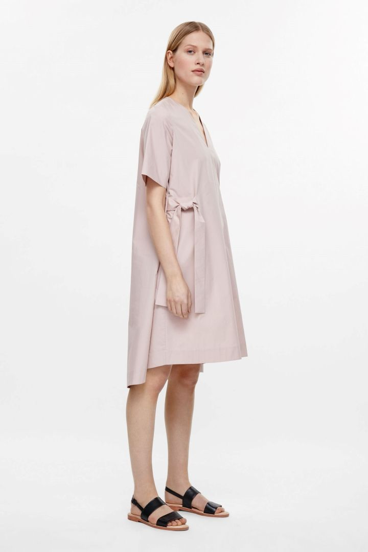 COS image 6 of V-neck dress with tie belts in Pale Pink