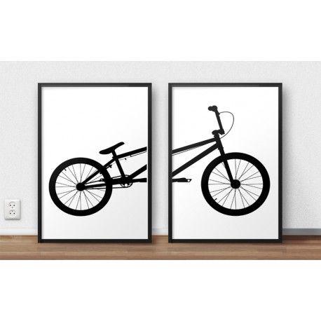 Zestaw dwóch plakatów z rowerem BMX  do powieszenia na ścianie