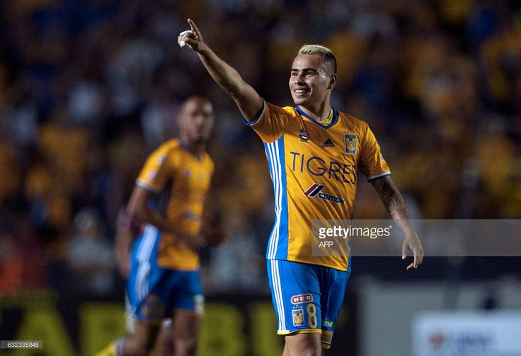 Tigres' Lucas Zelarayan celebrates after scoring against America during a Mexican Clausura 2017 tournament football match at the Universitario stadium in Monterrey, Mexico on January 21, 2017. / AFP / JULIO