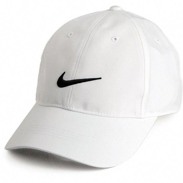 e15b95a3cee Nike Golf Hats Tech Swoosh Baseball Cap White from Village Hats. ❤ liked on  Polyvore featuring accessories