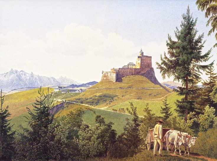 German artist Jakob Alt. Landscape - Martinsburg on Rab