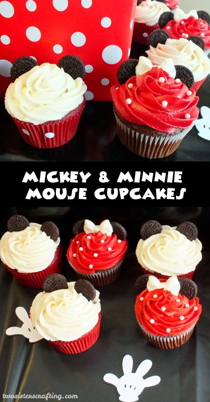 These Mickey & Minnie Mouse Cupcakes will be a big hit at your Mickey Mouse Birthday Party. So adorable, so delicious and so easy to make. Follow us for more fun Mickey Mouse Party Ideas.