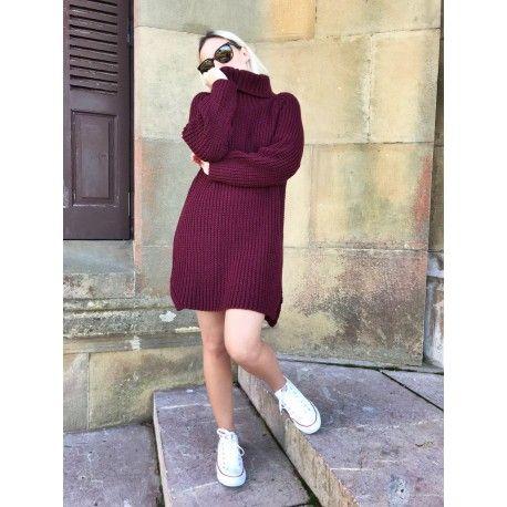 Vestido Calcita Bonito vestido corto de punto gordo, con cuello alto. Disponibles en varios colores perfecto para otoño e invierno