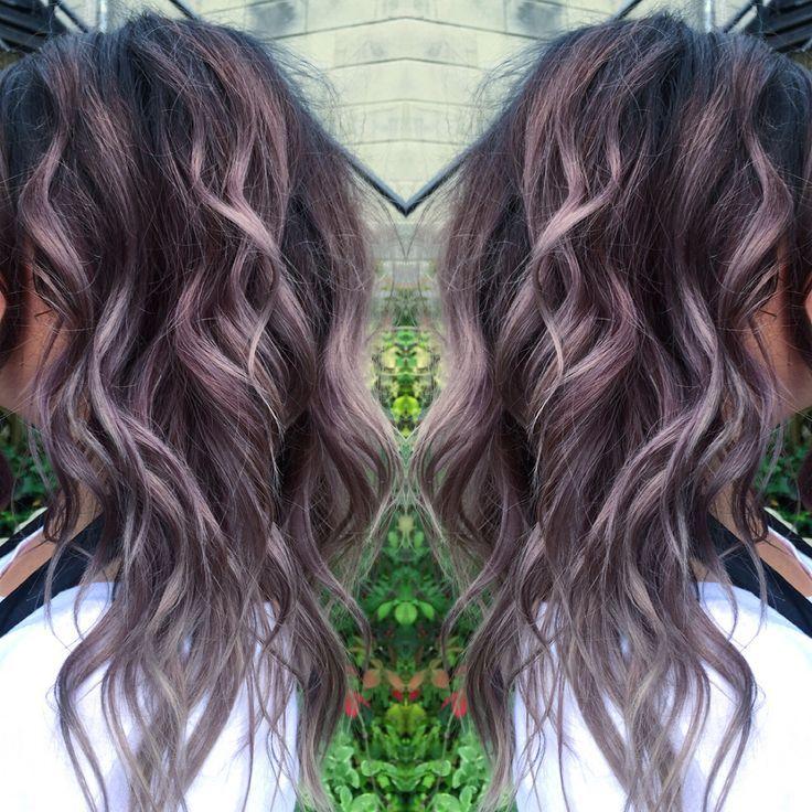 Black and gray or lilac haircolor. Balayage. Beautiful ...