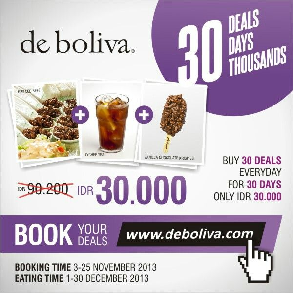 "Book your ""Grilled Beef+Lychee Tea+Vanilla Chocolate Krispies"" for just Rp 30.000,- at www.deboliva.com Booking Date: 3-25 Nov 2013 #deboliva #bolivapromo"