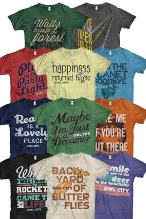 owl city t-shirts  classic