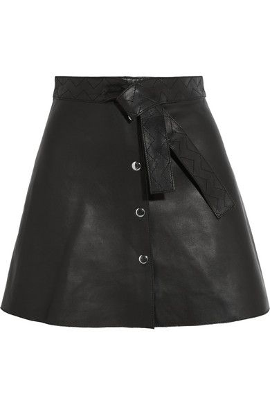 Black leather Snap fastenings through front 100% leather (Lamb); lining: 100% cotton Specialist clean
