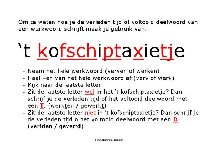 """www.jufjantine.blogspot.nl poster t kofschiptaxietje - """"spiekbriefje"""" voor leerlingen"""