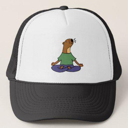 Cute Sea Otter Practicing Yoga Cartoon Trucker Hat - cool gift idea unique present special diy
