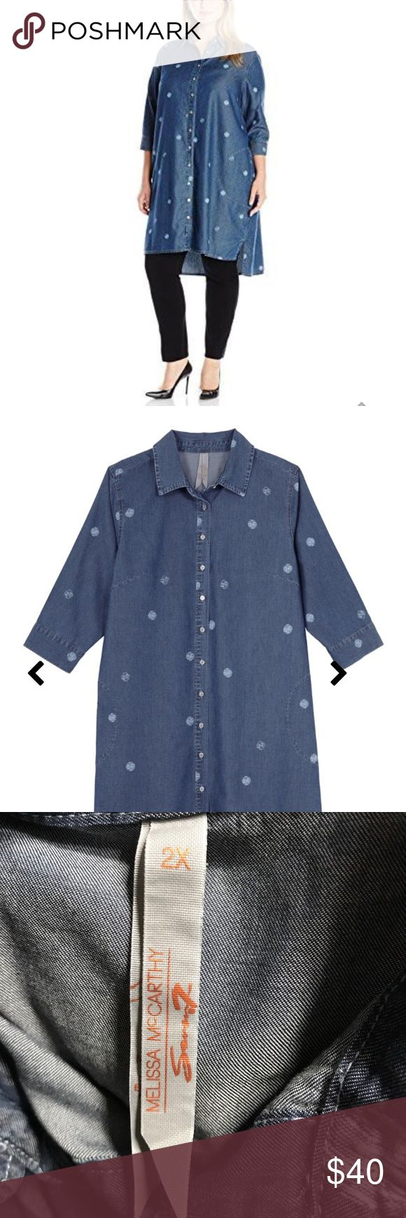 Melissa Mc Carthy Seven7 Tunic, Juliette Dot Denim Tunic 3/4 sleeve side pockets can be worn as a dress or long shirt just adorable and comfy! Melissa McCarthy Seven7 Dresses