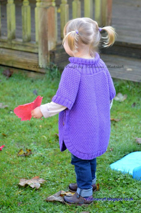 Knitting Pattern For Toddler Poncho : Knitting Pattern - Cable Fantasy Poncho (Toddler and Child ...